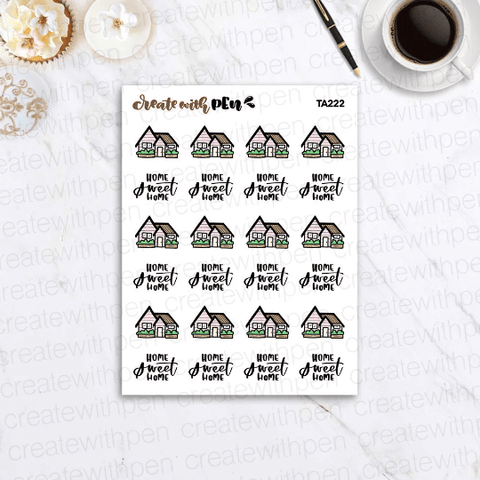 TA222 | Home sweet Home Doodle | Planner Stickers