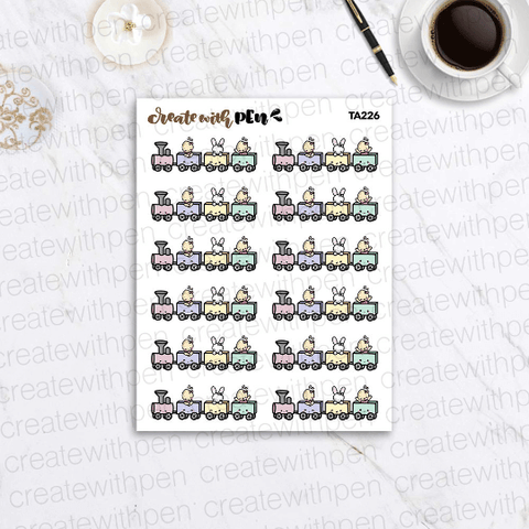 TA226 | Tinta and Bella on Train | Planner Stickers