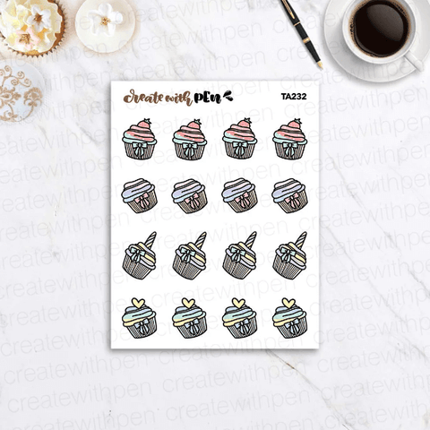 TA232 | All the Cupcakes | Planner Stickers