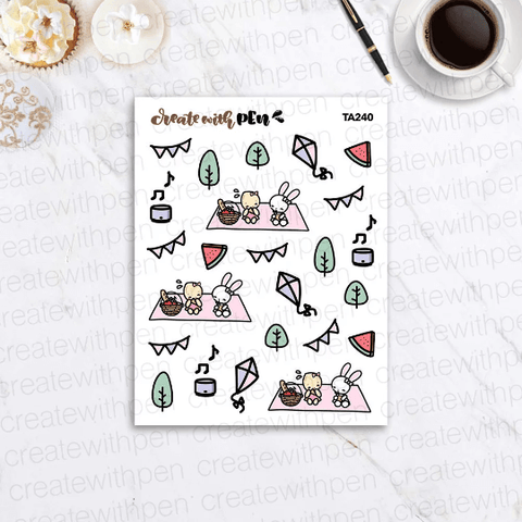 TA240 | Picnic with Tinta and Bella | Planner Stickers