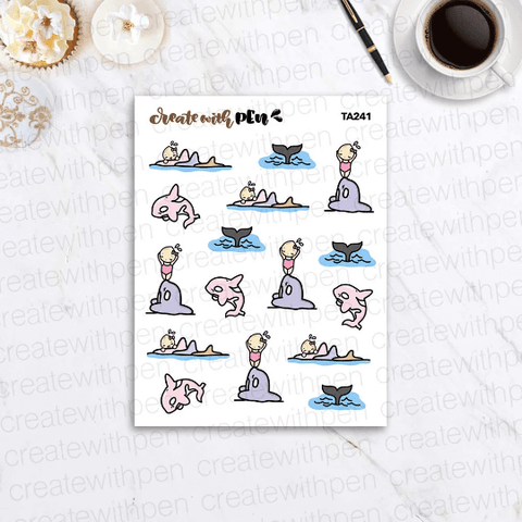 TA241 | Orca Love | Tinta | Planner Stickers
