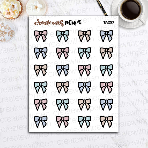 TA257 | All the Bows | Tinta | Planner Stickers