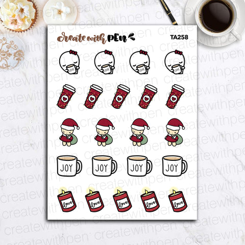 TA260 | Christmas Doodles V1 | Tinta | Planner Stickers