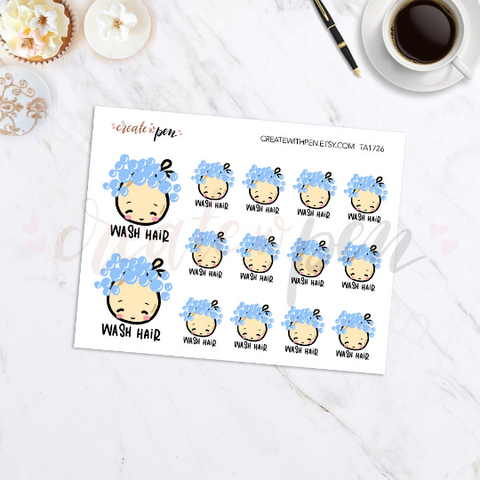TA26 | Tinta | Hair Wash or Shampooing | Planner Stickers