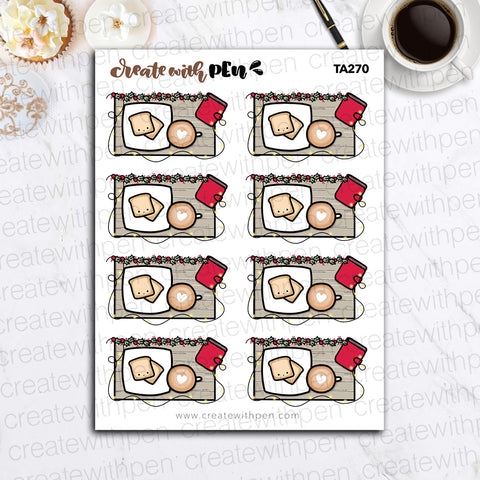 TA270 | Holiday Breakfast with Planner | Tinta | Planner Stickers