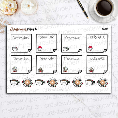 TA271 | Holiday Sticky Note Stickers | Planner Stickers