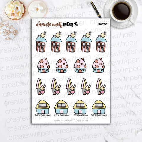 TA292 | Home Sweet Home V2 | Tinta | Planner Stickers