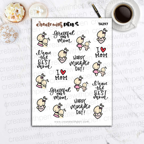 TA297 | Happy Mother's Day | Tinta | Planner Stickers