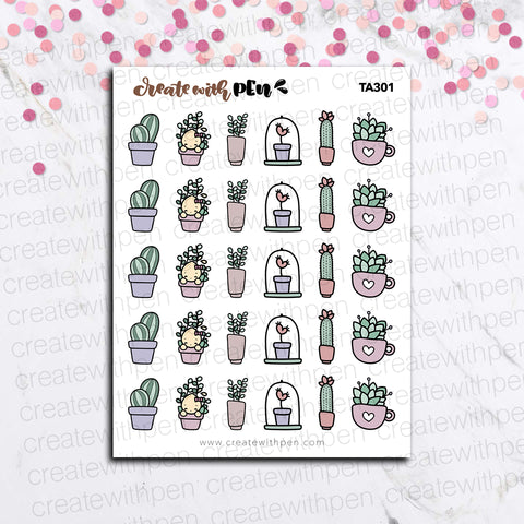 TA301 | Tinta and Succulents | Tinta | Planner Stickers