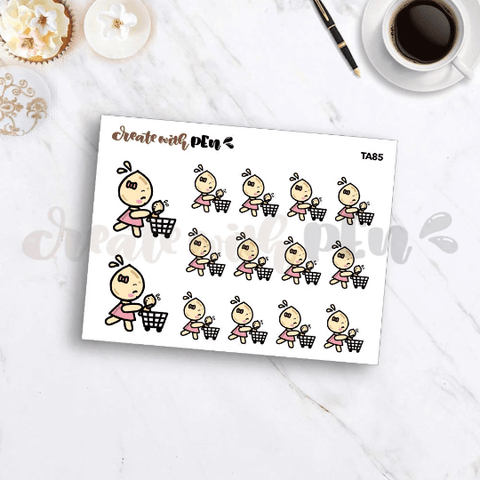 TA85 | Tinta | SHOPPING with BABY | Planner Stickers