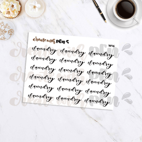 W16 | LAUNDRY | Hand Letterings | Planner Stickers