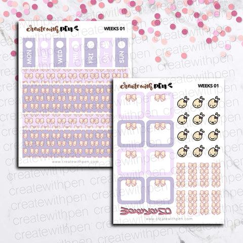 Weeks 01 - All the Bows | Sticker Kit for Hobonichi Weeks | Tinta | Planner Stickers
