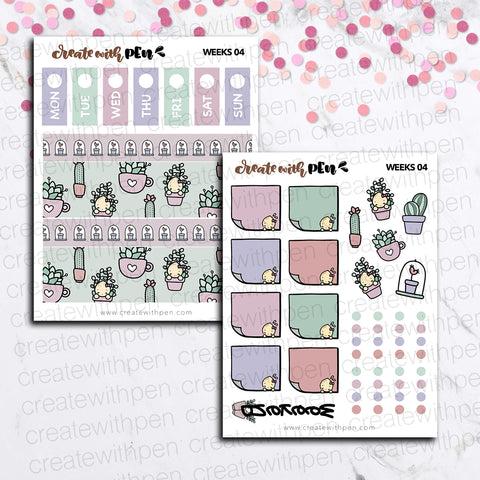 Weeks 04 - Succulents | Sticker Kit for Hobonichi Weeks | Tinta | Planner Stickers