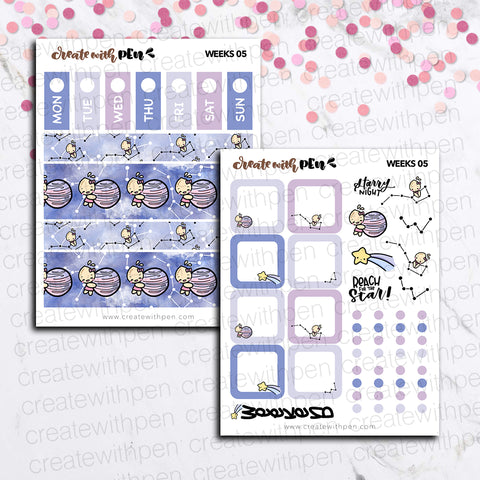 Weeks 05 - Constellations | Sticker Kit for Hobonichi Weeks | Tinta | Planner Stickers