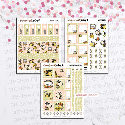Weeks 06 - Bees and Honey | Sticker Kit for Hobonichi Weeks | Tinta | Planner Stickers