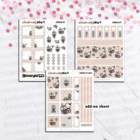 Weeks 07 - Bubble Tea | Sticker Kit for Hobonichi Weeks | Tinta | Planner Stickers