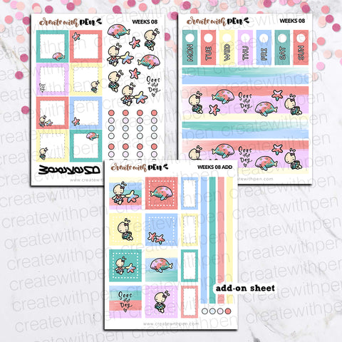Weeks 08 - Seas the Day | Sticker Kit for Hobonichi Weeks | Tinta | Planner Stickers