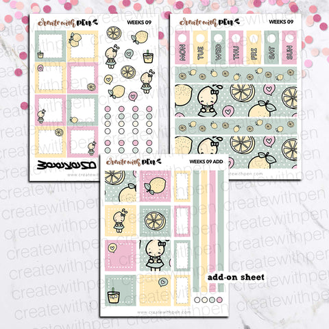 Weeks 09 - Lemonade | Sticker Kit for Hobonichi Weeks | Tinta | Planner Stickers