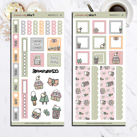 Weeks 11 - Winter Houses | Sticker Kit for Hobonichi Weeks | Tinta | Planner Stickers