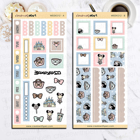 Weeks 12 - Theme Park Fun | Sticker Kit for Hobonichi Weeks | Tinta | Planner Stickers