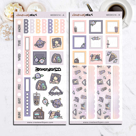 Weeks 14 - Midnight Flowers | Sticker Kit for Hobonichi Weeks | Tinta | Planner Stickers