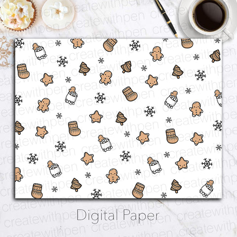 Digital Paper: Gingerbread Cookies