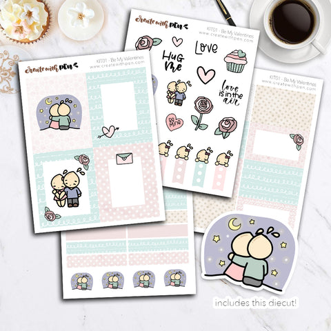 KIT01(EC) - Be My Valentines | Tinta Planner Sticker Mini Kit