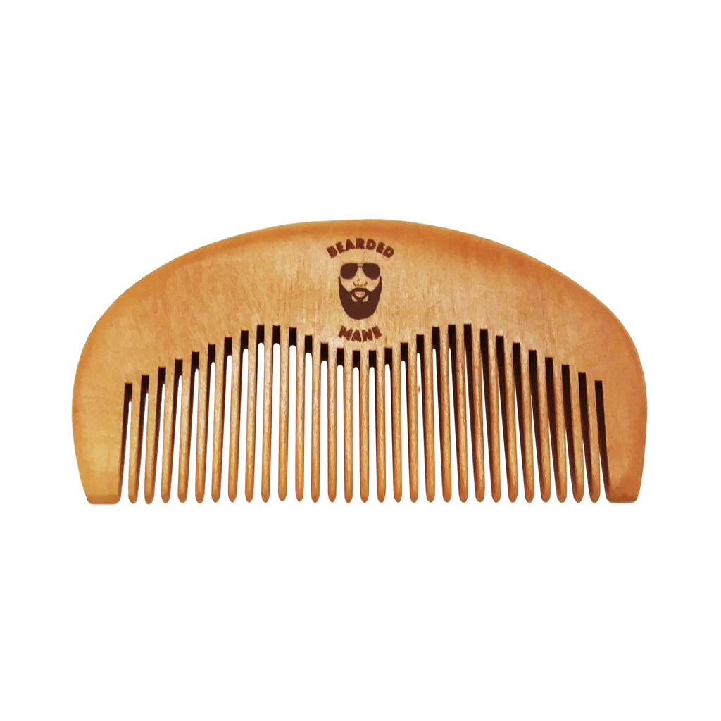 Bearded Mane Wide Tooth Wooden Comb Front View