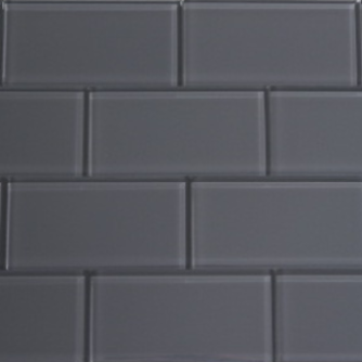 Pebble Gray Glass Subway Tile 3x6 Sample