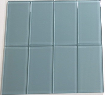 Blue Gray Glass Subway Tile 3x6 Sample