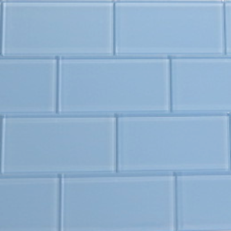 Sky Blue Glass Subway Tile 3x6 Sample