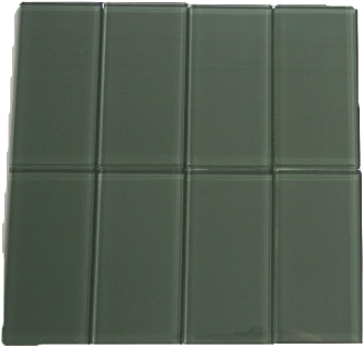 Charcoal Gray Glass Subway Tile 3x6