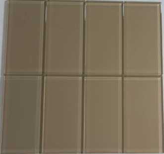 Caramel Beige Glass Subway Tile 3x6 Sample
