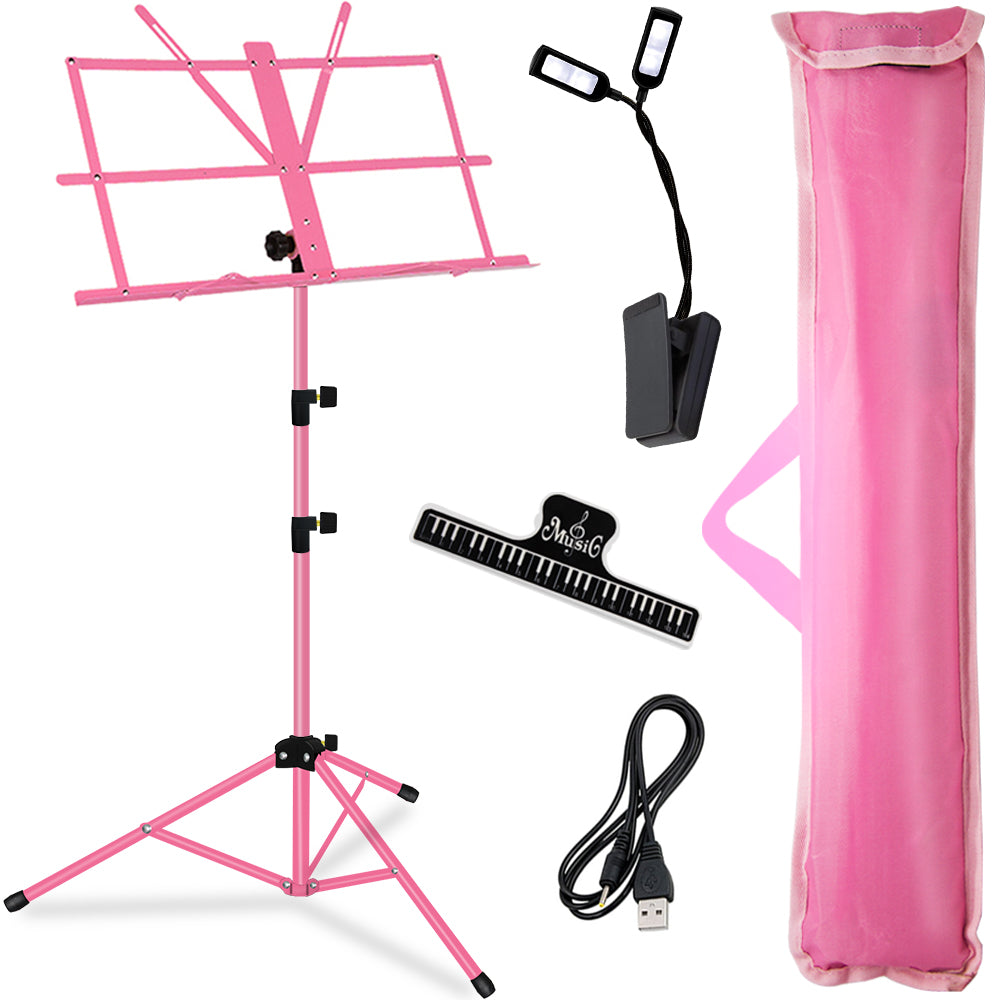 Kasonic Professional Stage Folding Sheet Music Stands Height Adjustable,Pink Color with Carrying Bag/LED light/Music Sheet Clip