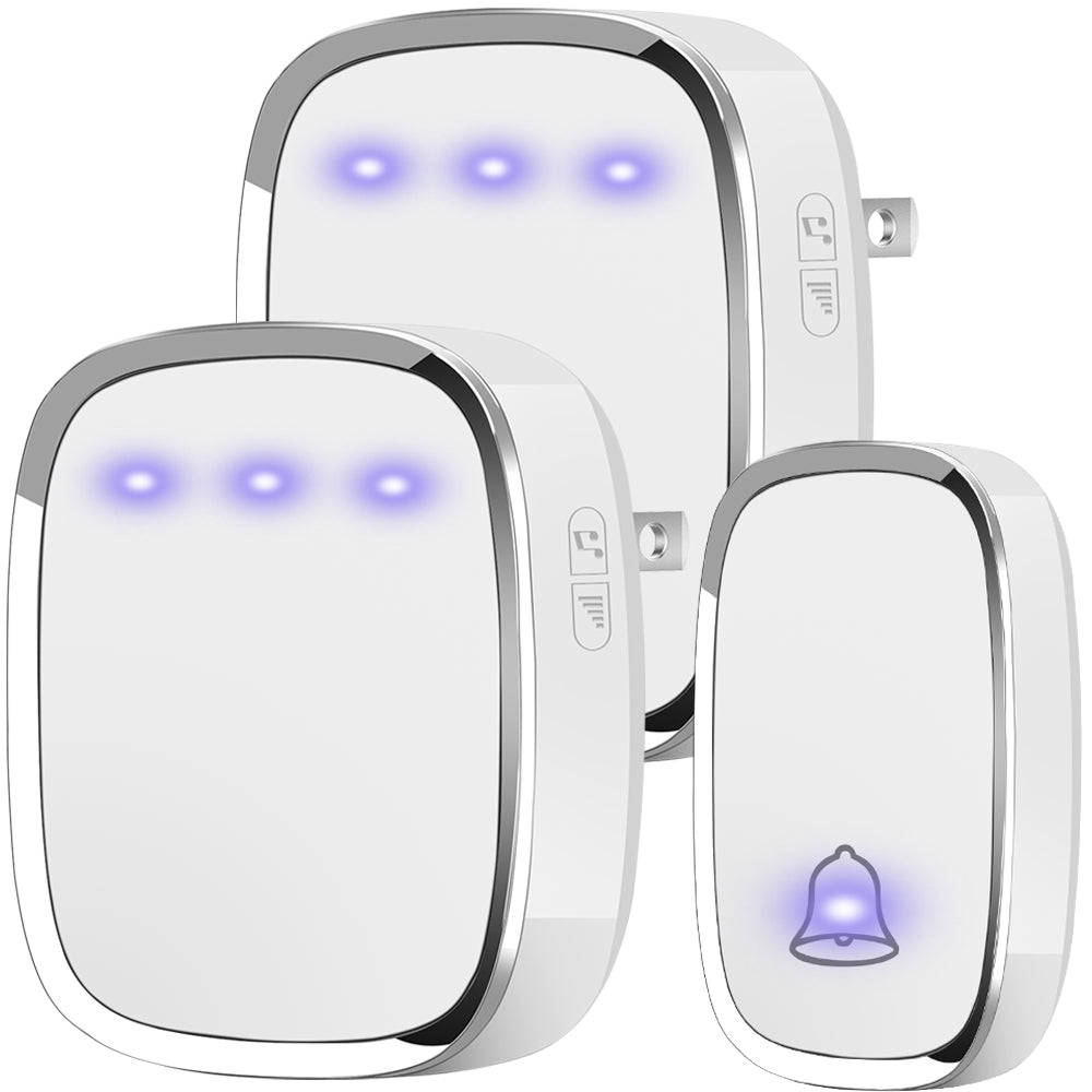 Wireless Doorbell Plug and Play, 2 Receiver and 1 Push Button (White) - kasonicdeal