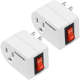 Kasonic Grounded Outlet Adapter 2 Pack, 3 Prong Grounded Single Port Power Adapter with Switch