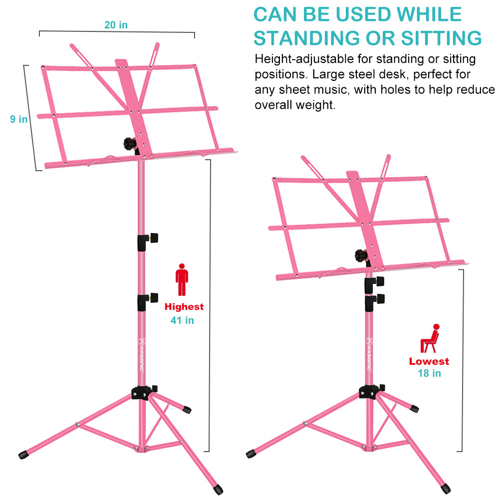 Kasonic Music Stand with LED light, Paper Holder and Carrying Bag (Pink) - kasonicdeal