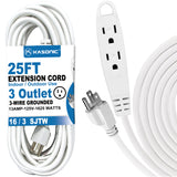 Kasonic 25 Feet 3 Outlet Extension Cord, UL Listed, 16/3 SJTW 3-Wire Grounded, 13 Amp 125 V 1625 Watts - kasonicdeal
