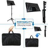 Kasonic Music Stand with LED light, Paper Holder and Carrying Bag (Black) - kasonicdeal