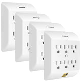Kasonic Multi Plug Outlet 4 PACK, Wall Mount power strip with 6 Outlet Tap; Grounded Wall Plug Extender, Easy-to-Install, UL Listed - kasonicdeal
