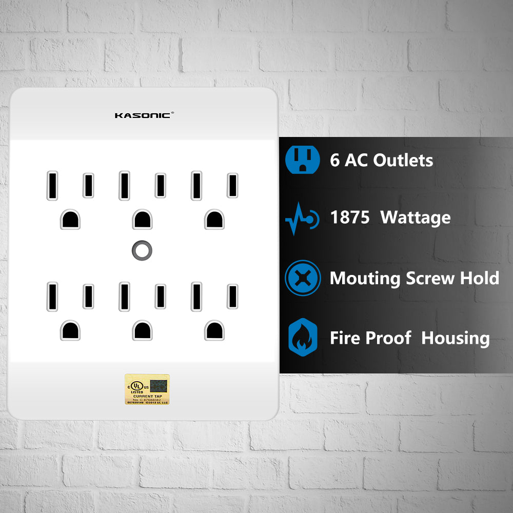 Kasonic Multi Plug Outlet 4 Pack  Wall Mount Power Strip