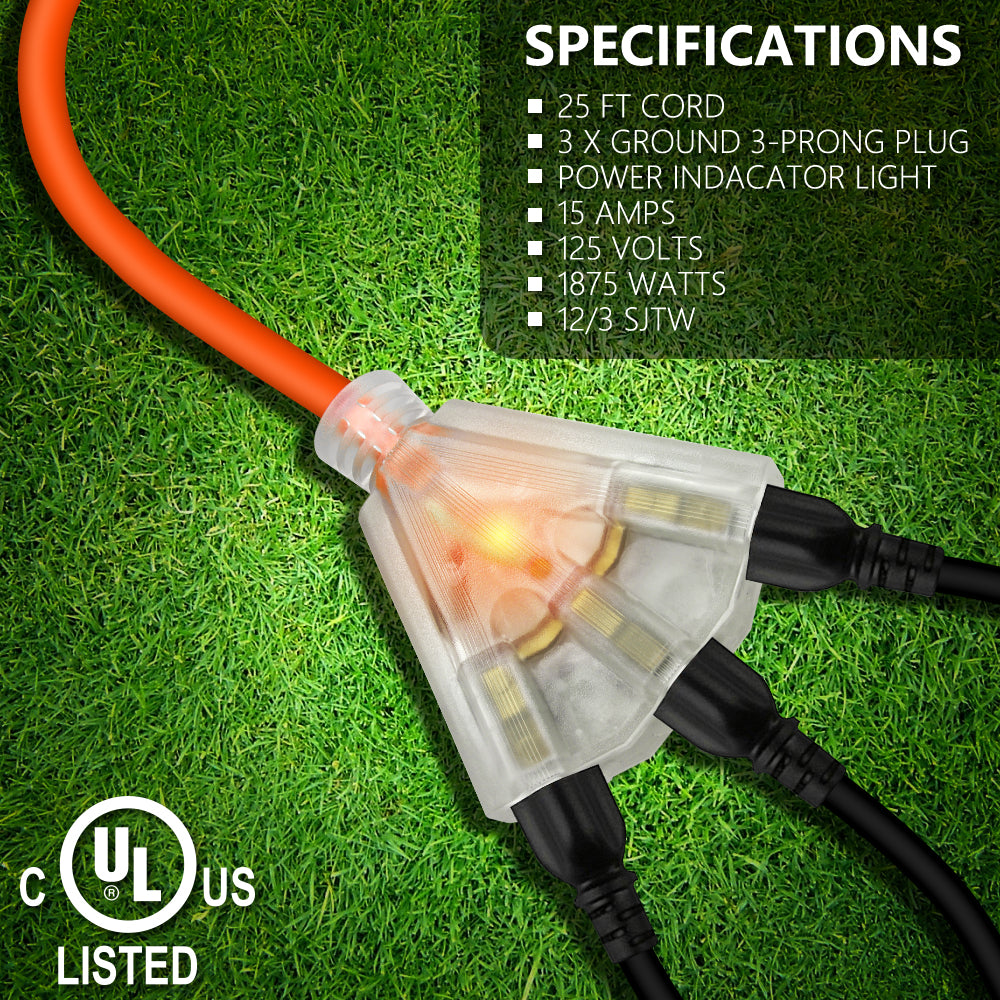Kasonic 25 Feet 3 Outlet 12/3 SJTW Outdoor Extension Cord - UL Listed; 15Amp 125V 1875 Watts; Heavy Duty; Red Glow Indicates - kasonicdeal