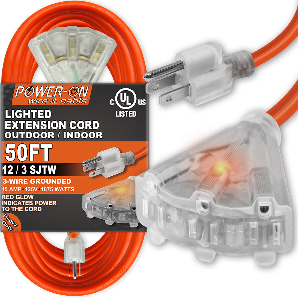 Kasonic 50 Feet 3 Outlet 12/3 SJTW Outdoor Extension Cord - UL Listed; 15Amp 125V 1875 Watts; Heavy Duty; Red Glow Indicates - kasonicdeal