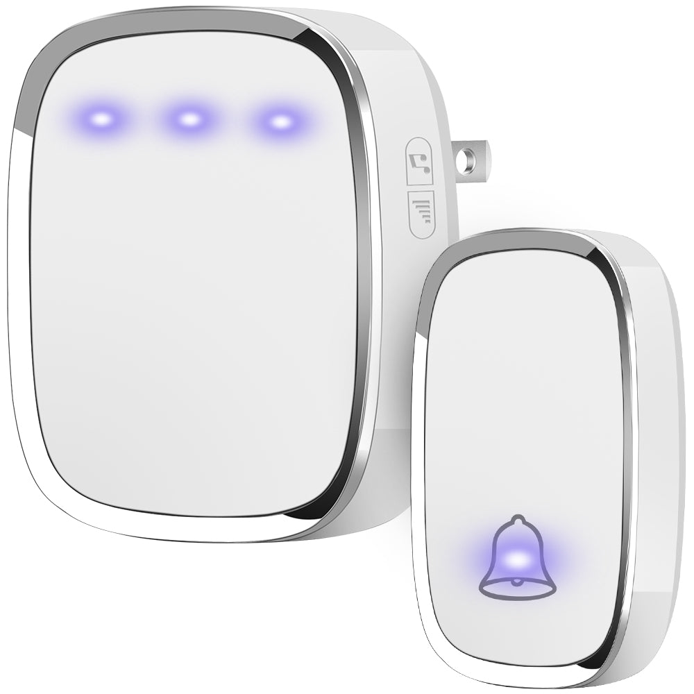 Wireless Doorbell Plug and Play, 1 Receiver and 1 Push Button (White) - kasonicdeal