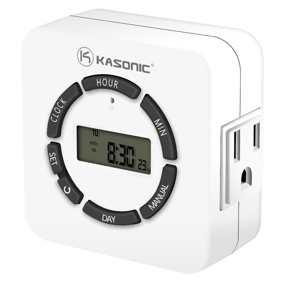 Kasonic Digital Timer Outlet, 7 Days Heavy Duty Programmable Light Timer; Indoor Use, ETL Listed with 2 AC Plug Capacity - kasonicdeal