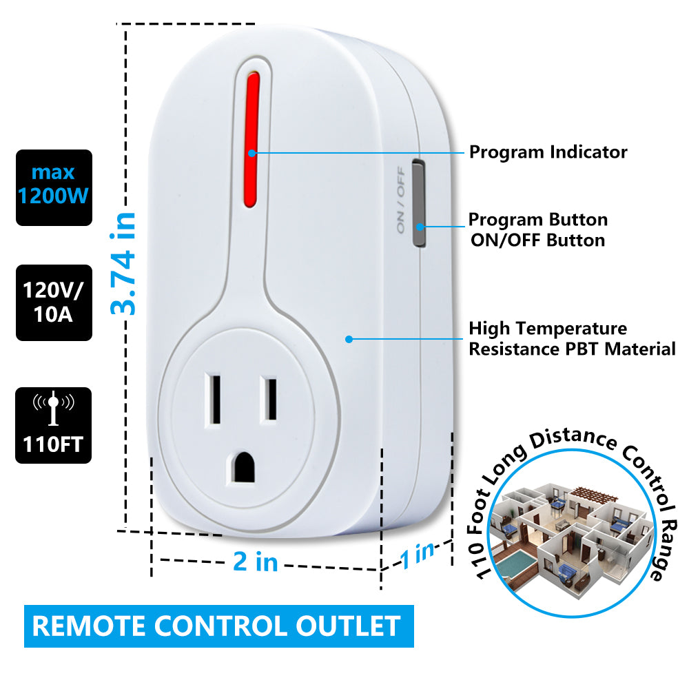 Kasonic Wireless Remote Control Outlets & Light Sockets, Smart Home ETL-Listed Remote Control Multipurpose Combo Set - kasonicdeal