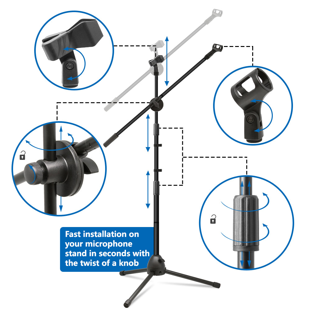 Microphone Stand, Heavy Duty Adjustable Collapsible Tripod Boom Mic Stands with 2 Mic Clip Holders - Black - kasonicdeal
