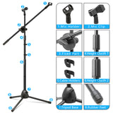 Kasonic Microphone Stand Adjustable Tripod Boom Mic Stands with 2 Mic Clip Holders