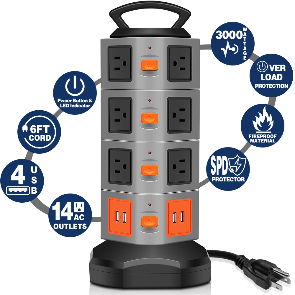 14 Outlet Plugs Power Strip Surge Protector with 4 USB Slot 6 feet  Extension Cord - kasonicdeal