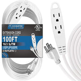 Kasonic 100 Feet 3 Outlet Extension Cord, UL Listed, 16/3 SJTW 3-Wire Grounded, 13 Amp 125 V 1625 Watts - kasonicdeal